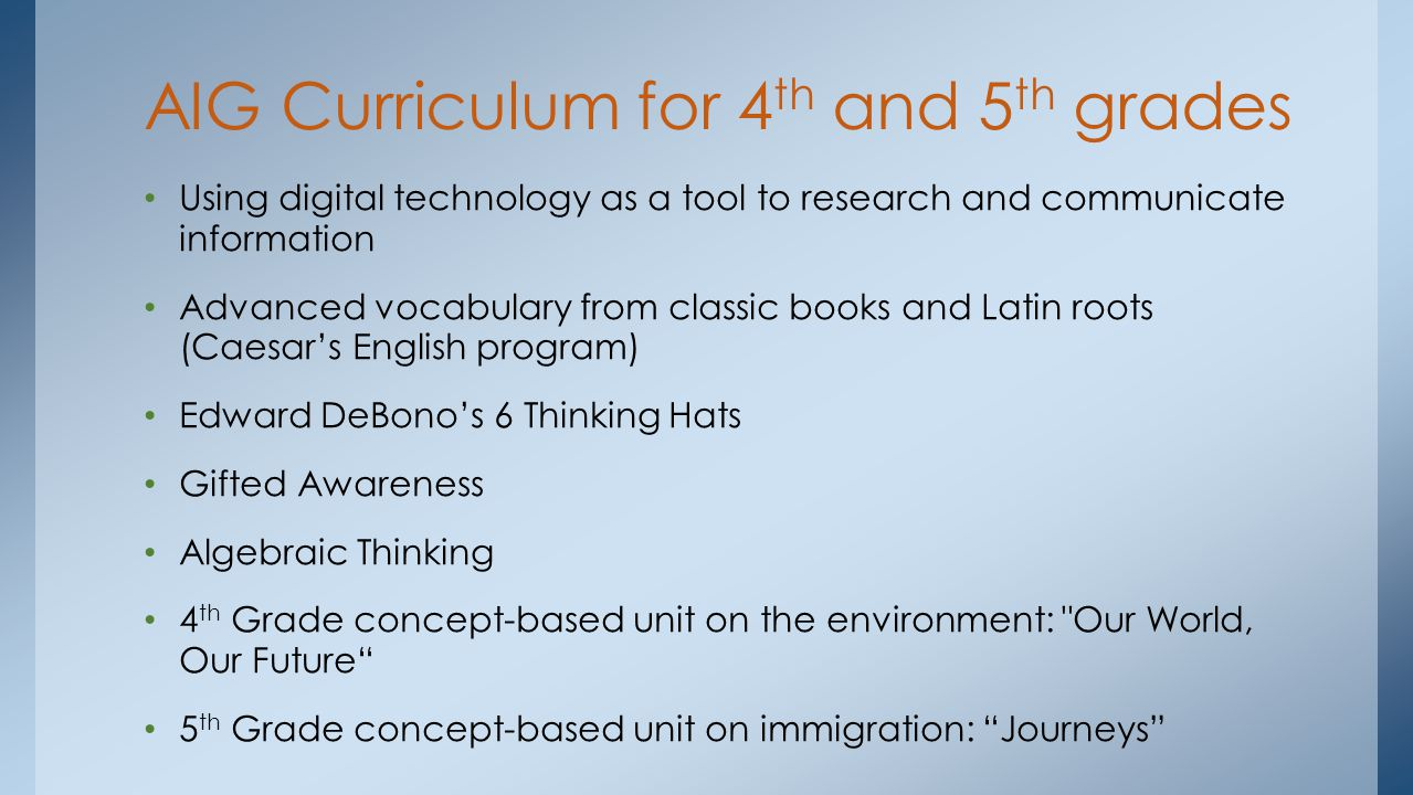 Using digital technology as a tool to research and communicate information Advanced vocabulary from classic books and Latin roots (Caesar's English program) Edward DeBono's 6 Thinking Hats Gifted Awareness Algebraic Thinking 4 th Grade concept-based unit on the environment: Our World, Our Future 5 th Grade concept-based unit on immigration: Journeys AIG Curriculum for 4 th and 5 th grades