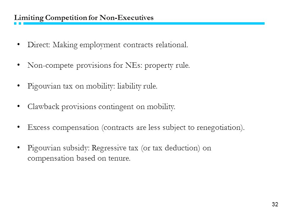 32 Limiting Competition for Non-Executives Direct: Making employment contracts relational.