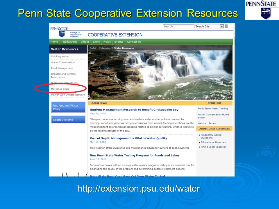 Penn State Cooperative Extension Resources http://extension.psu.edu/water