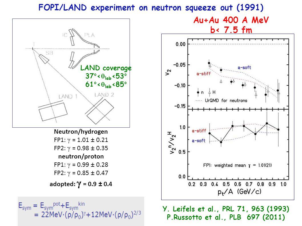 Neutron/hydrogen FP1: γ = 1.01 ± 0.21 FP2: γ = 0.98 ± 0.35 neutron/proton FP1: γ = 0.99 ± 0.28 FP2: γ = 0.85 ± 0.47 adopted: γ = 0.9 ± 0.4 Au+Au 400 A MeV b< 7.5 fm Y.