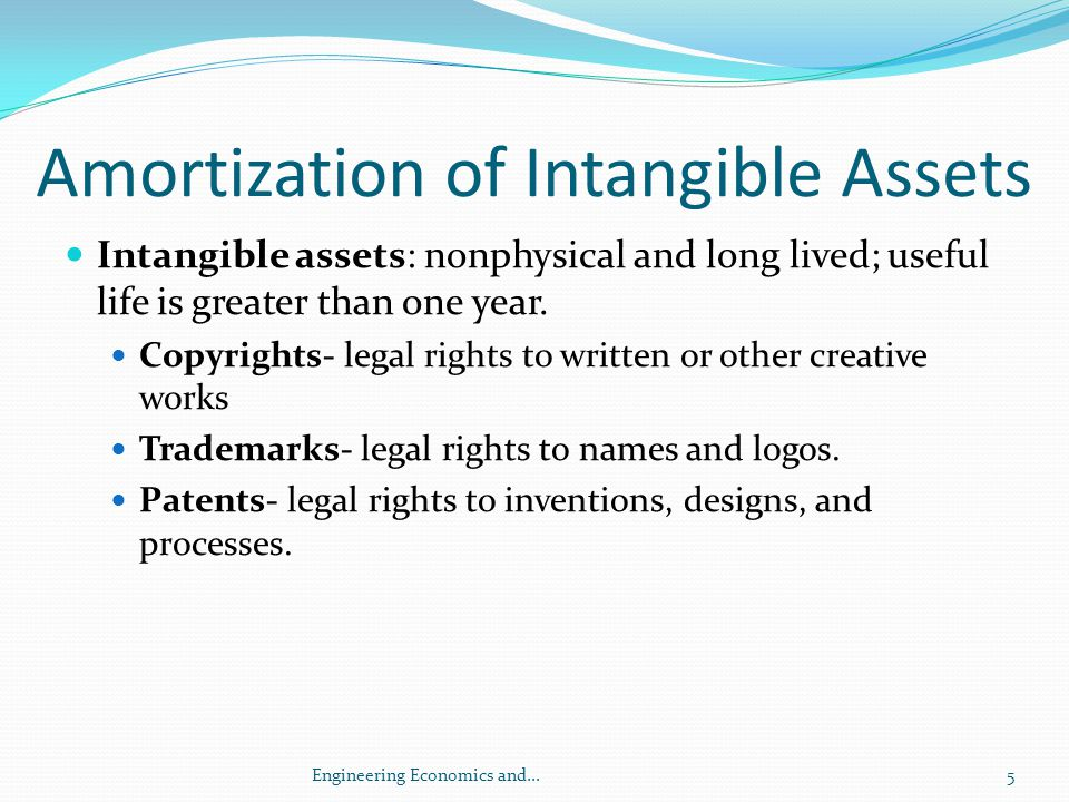 Amortization of Intangible Assets Goodwill—economic value of the reputation and profitability of a business.
