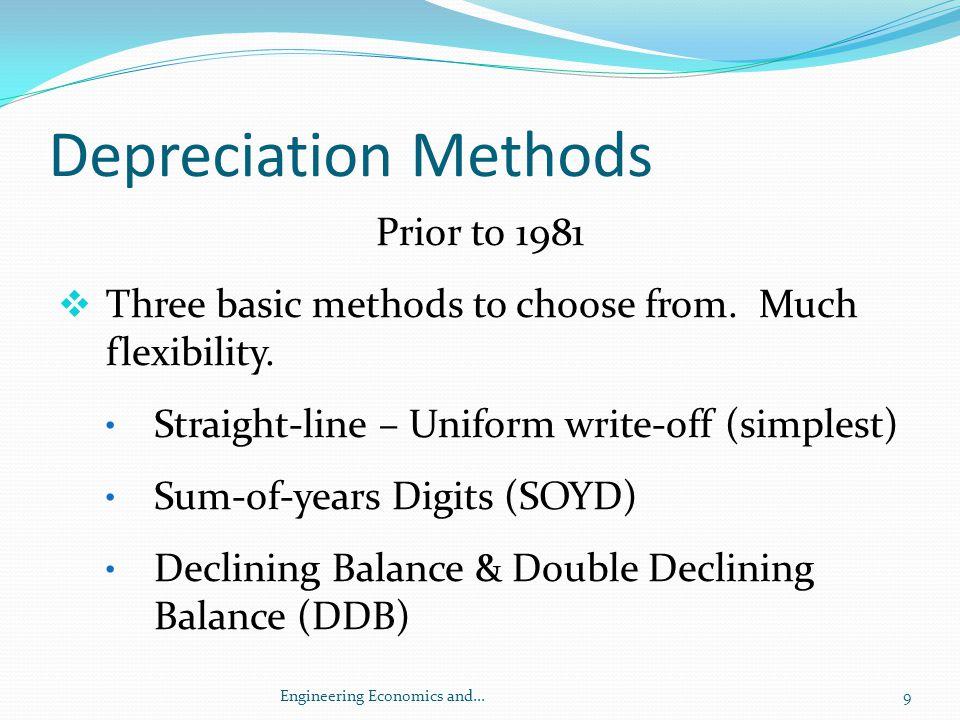 Usage Depreciation Yr Usage (hrs) Depreciation Schedule 1 5,000 ($50,000 – 0) x (5,000 / 12,000) = $20,833 2 5,000 (50,000 – 0) x (5,000 / 12,000) = $20,833 3 2,000 (50,000 – 0) x (2,000 / 12,000) = $8,334 Dep t = (P – SV) Q t / Q 30Engineering Economics and...
