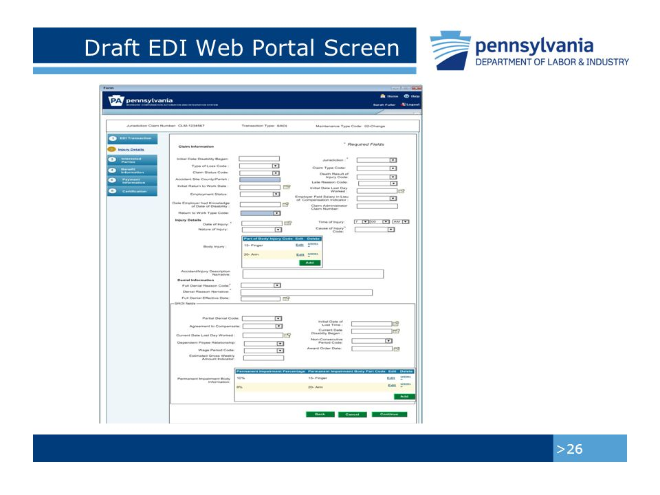 Draft EDI Web Portal Screen >27