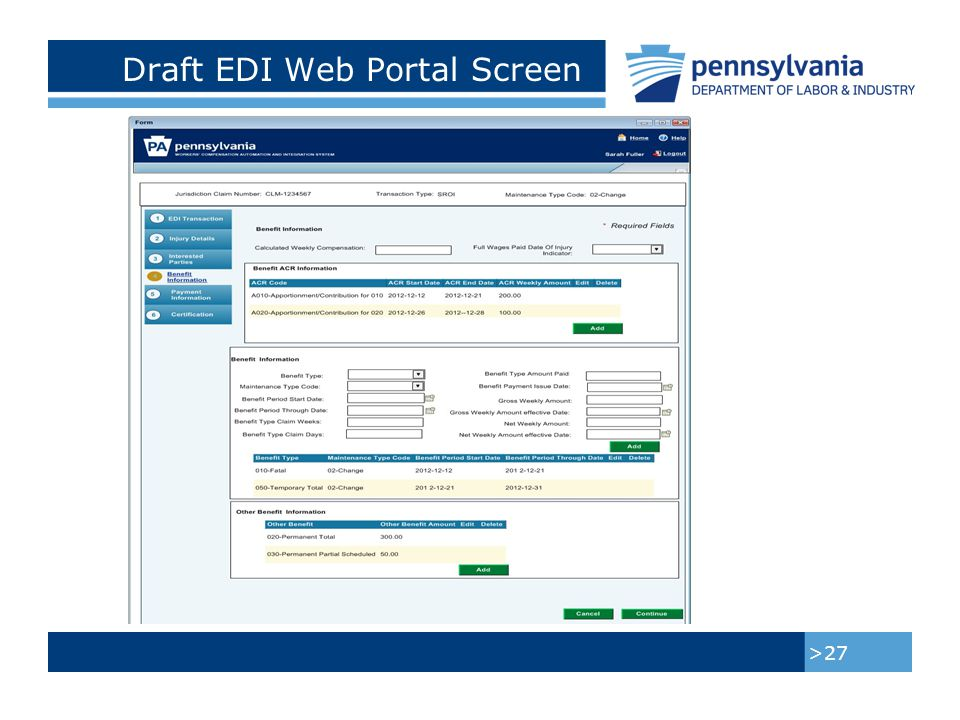 Draft EDI Web Portal Screen >28