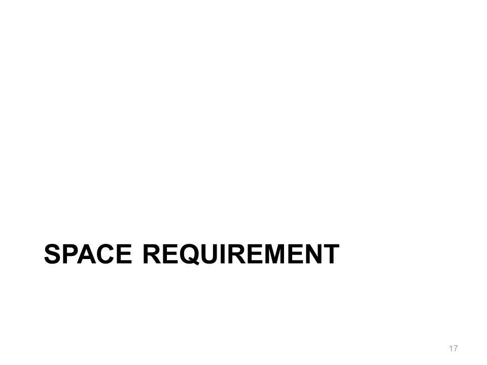 SPACE REQUIREMENT 17