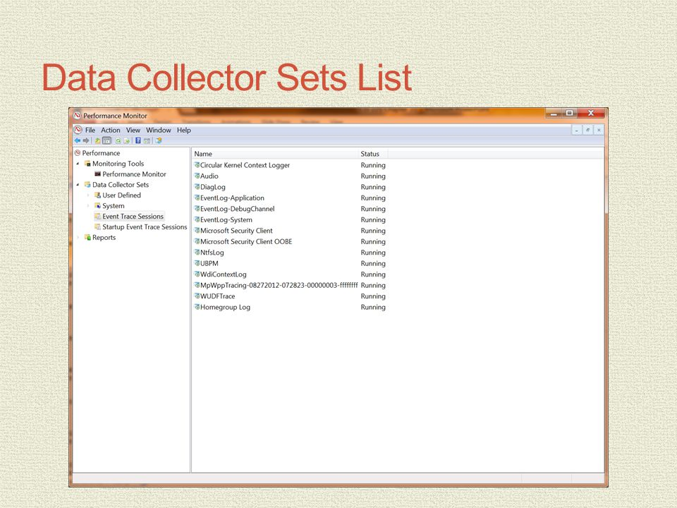 Data Collector Sets List