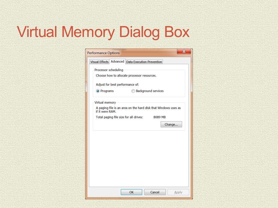 Virtual Memory Dialog Box