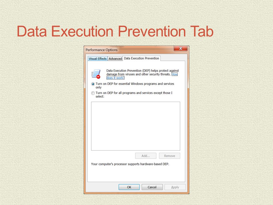 Data Execution Prevention Tab