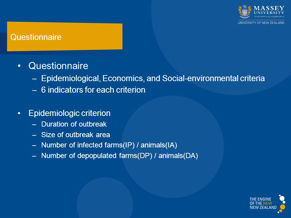 Questionnaire –Epidemiological, Economics, and Social-environmental criteria –6 indicators for each criterion Epidemiologic criterion –Duration of outbreak –Size of outbreak area –Number of infected farms(IP) / animals(IA) –Number of depopulated farms(DP) / animals(DA) Questionnaire