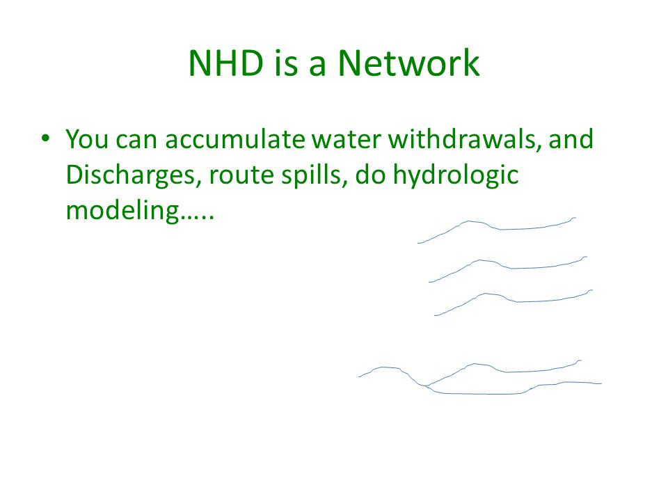 NHD is a Network You can accumulate water withdrawals, and Discharges, route spills, do hydrologic modeling…..
