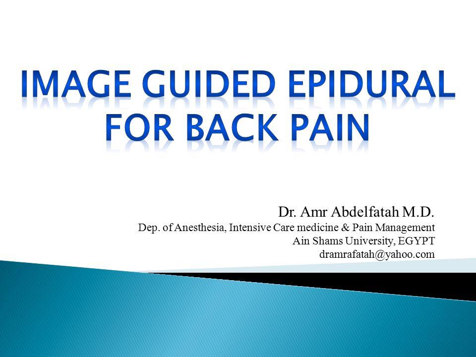 Dr. Amr Abdelfatah M.D. Dep. of Anesthesia, Intensive Care medicine & Pain Management Ain Shams University, EGYPT dramrafatah@yahoo.com