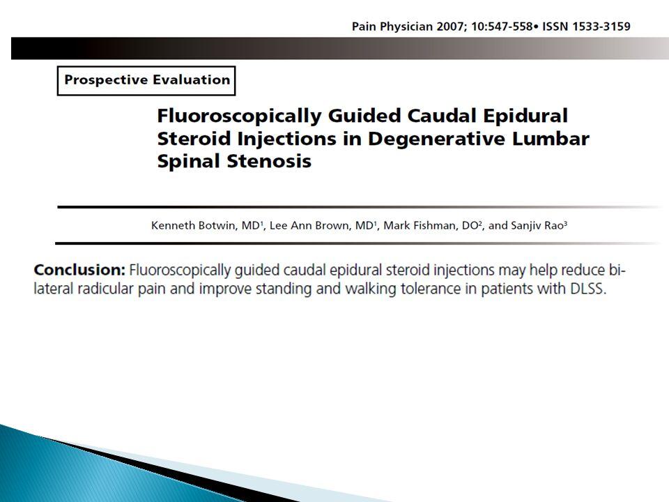  Blind Cervical ESIs: ◦ 53% false LOR on 1 st trail ◦ unilateral spread in 51% ◦ ventral spread in 28% (Stojanovic MP, et al.
