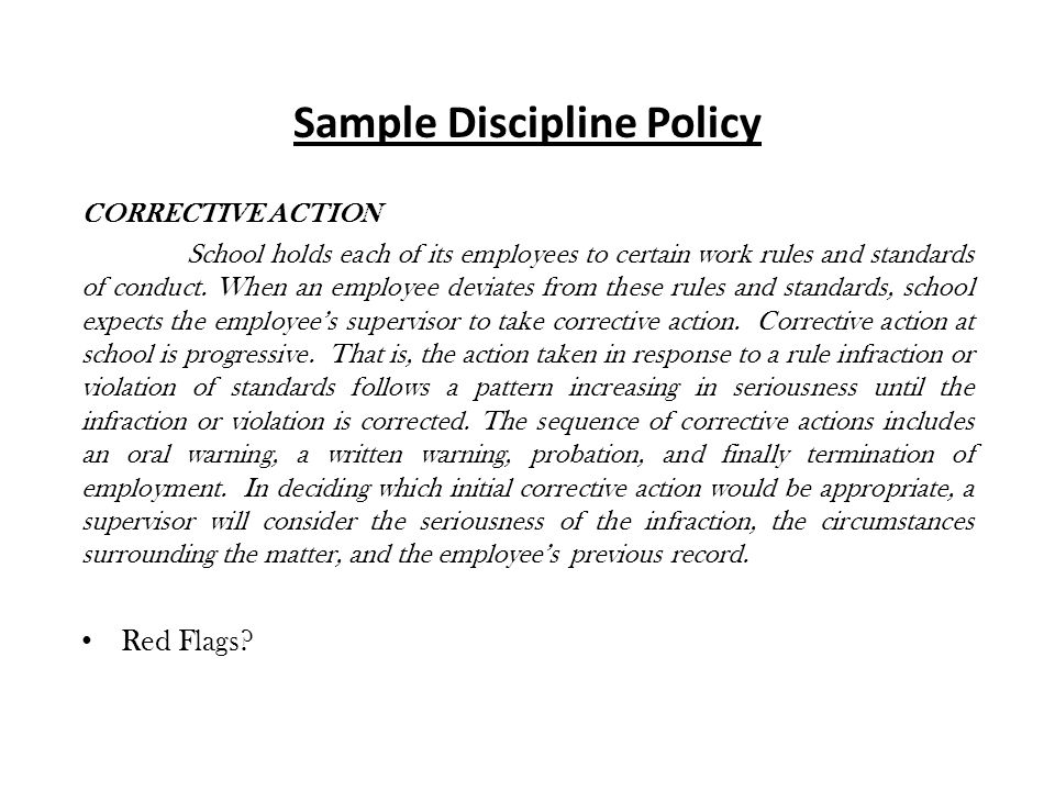 Sample Discipline Policy CORRECTIVE ACTION School holds each of its employees to certain work rules and standards of conduct.