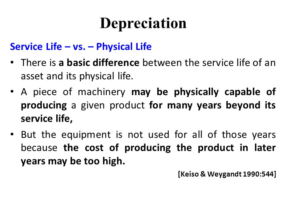 Depreciation Service Life – vs.