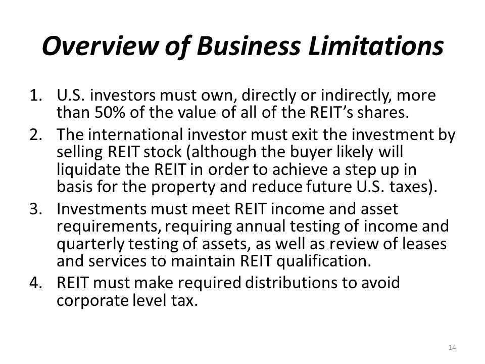 Overview of Business Limitations 1.U.S.