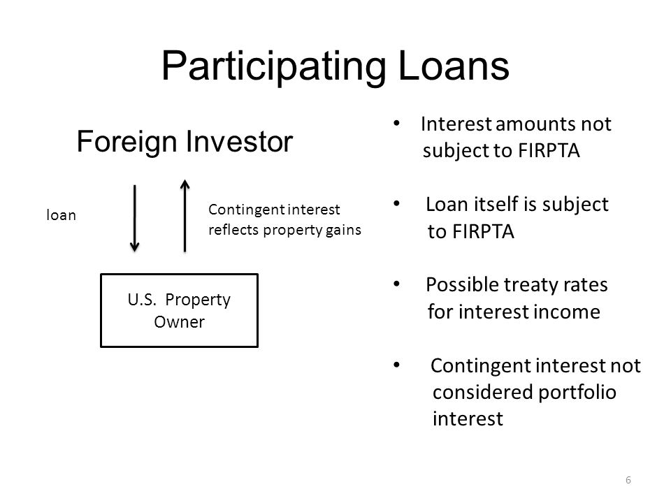 6 Participating Loans Foreign Investor U.S.