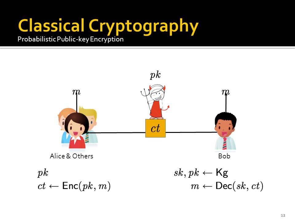 Alice & Others Bob Probabilistic Public-key Encryption 12