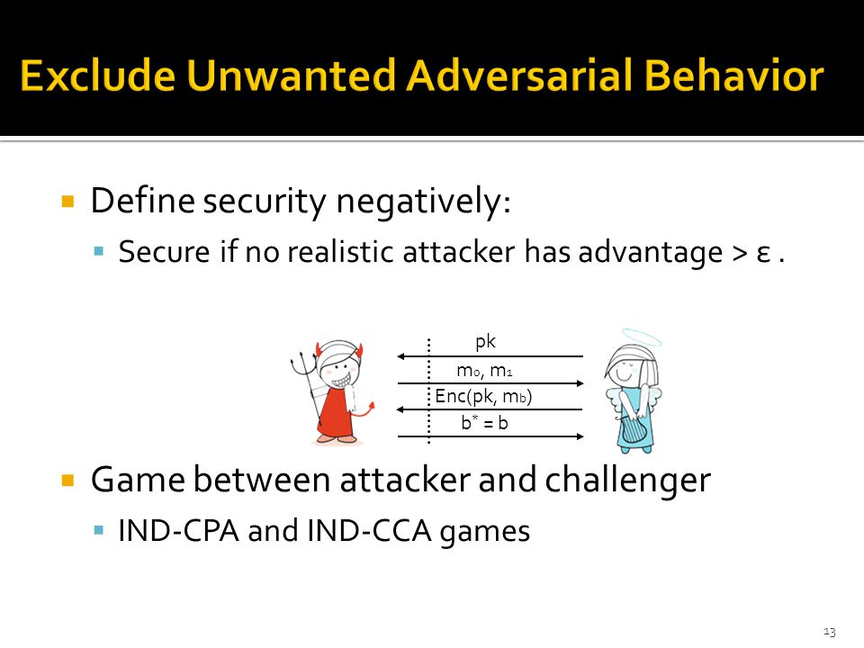  Define security negatively:  Secure if no realistic attacker has advantage > ε.  Game between attacker and challenger  IND-CPA and IND-CCA games