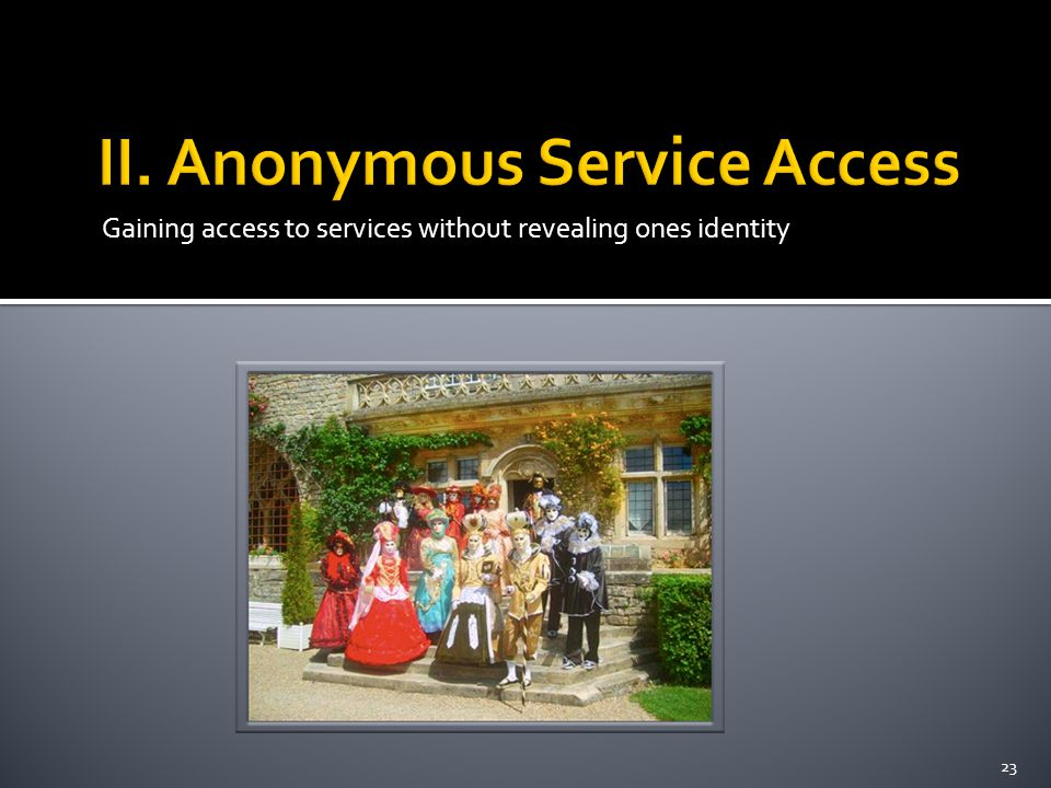 Gaining access to services without revealing ones identity 23