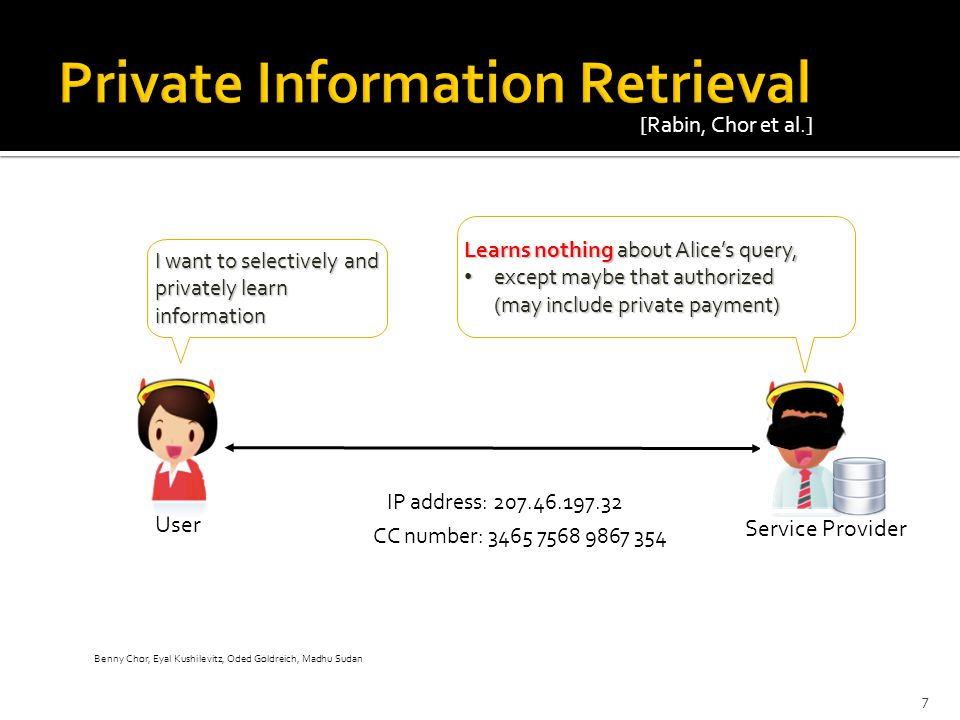 CC number: 3465 7568 9867 354 User Service Provider I want to selectively and privately learn information Learns nothing about Alice's query, except m