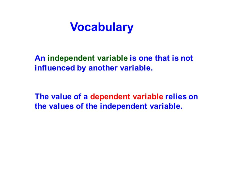 An independent variable is one that is not influenced by another variable. The value of a dependent variable relies on the values of the independent v