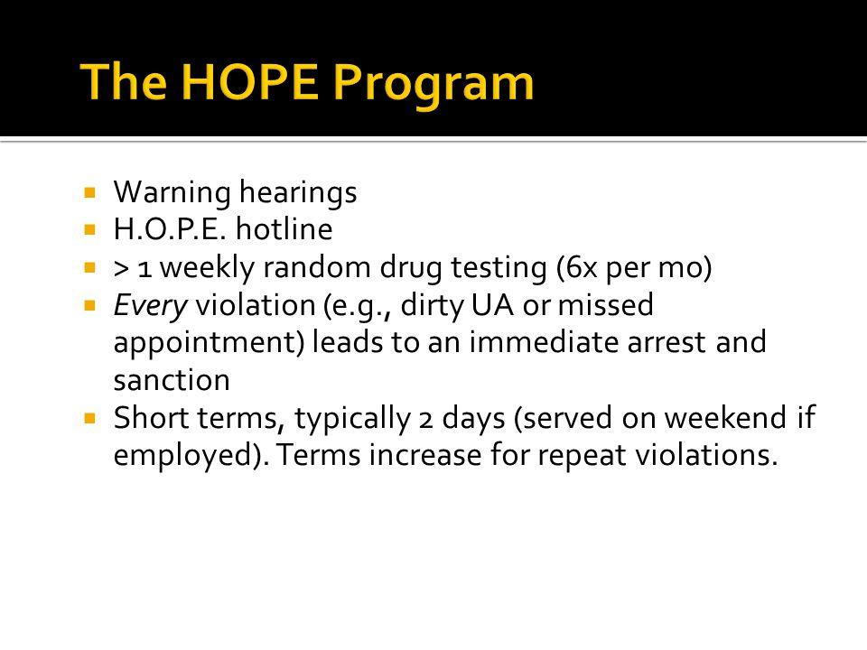  Warning hearings  H.O.P.E.