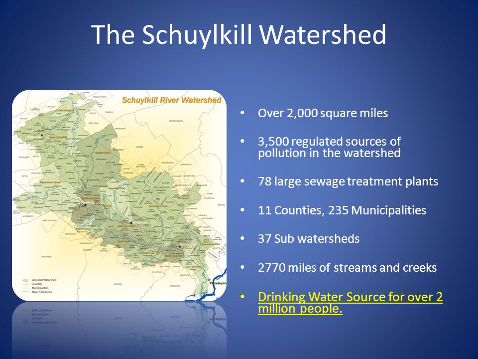 The Schuylkill Watershed Over 2,000 square miles 3,500 regulated sources of pollution in the watershed 78 large sewage treatment plants 11 Counties, 235 Municipalities 37 Sub watersheds 2770 miles of streams and creeks Drinking Water Source for over 2 million people.
