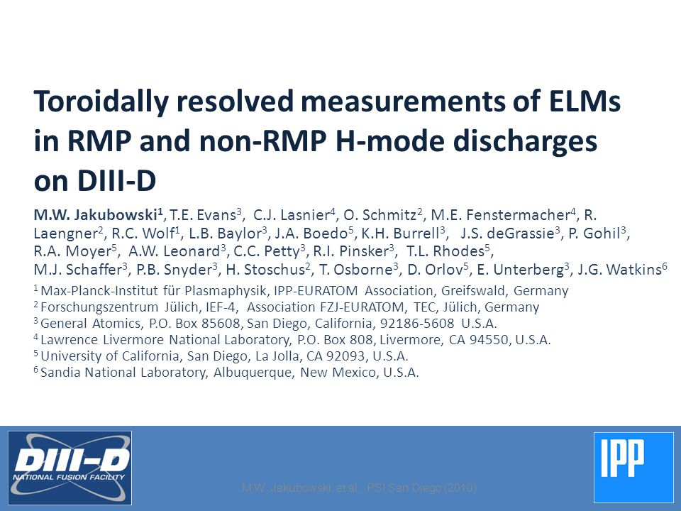 Toroidally resolved measurements of ELMs in RMP and non-RMP H-mode discharges on DIII-D M.W.