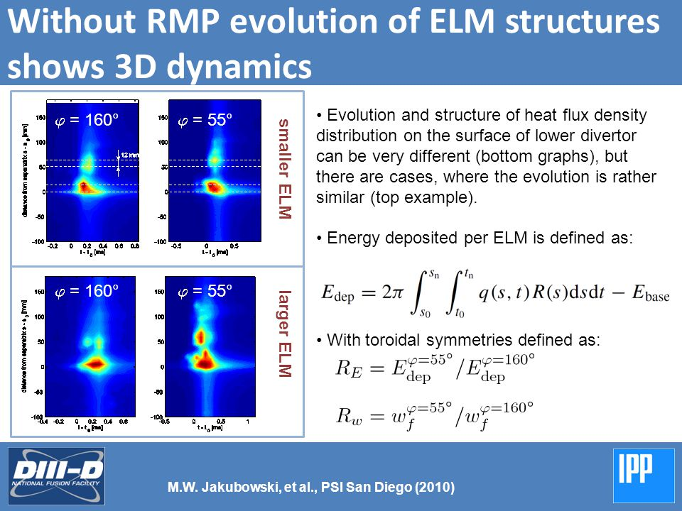 With RMP heat deposition patterns follow structure of stochastic boundary Introducing RMP (5 kA, q 95 = 3.5) changes evolution of type-I ELMs to small events following topology of the stochastic boundary.