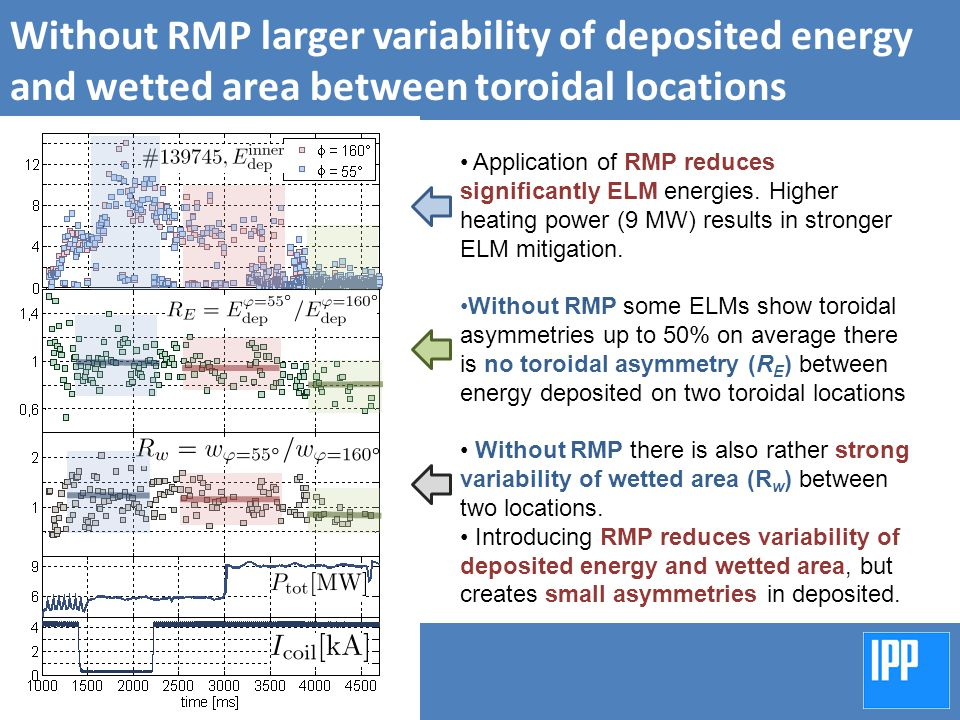 Without RMP larger variability of deposited energy and wetted area between toroidal locations Application of RMP reduces significantly ELM energies.
