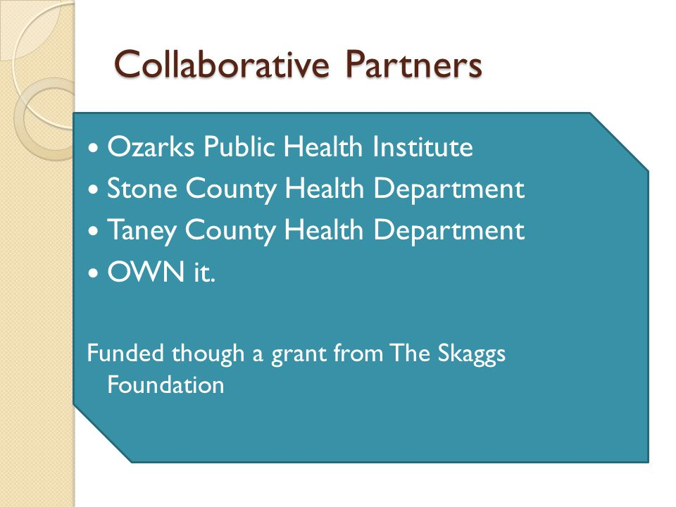 Collaborative Partners Ozarks Public Health Institute Stone County Health Department Taney County Health Department OWN it.