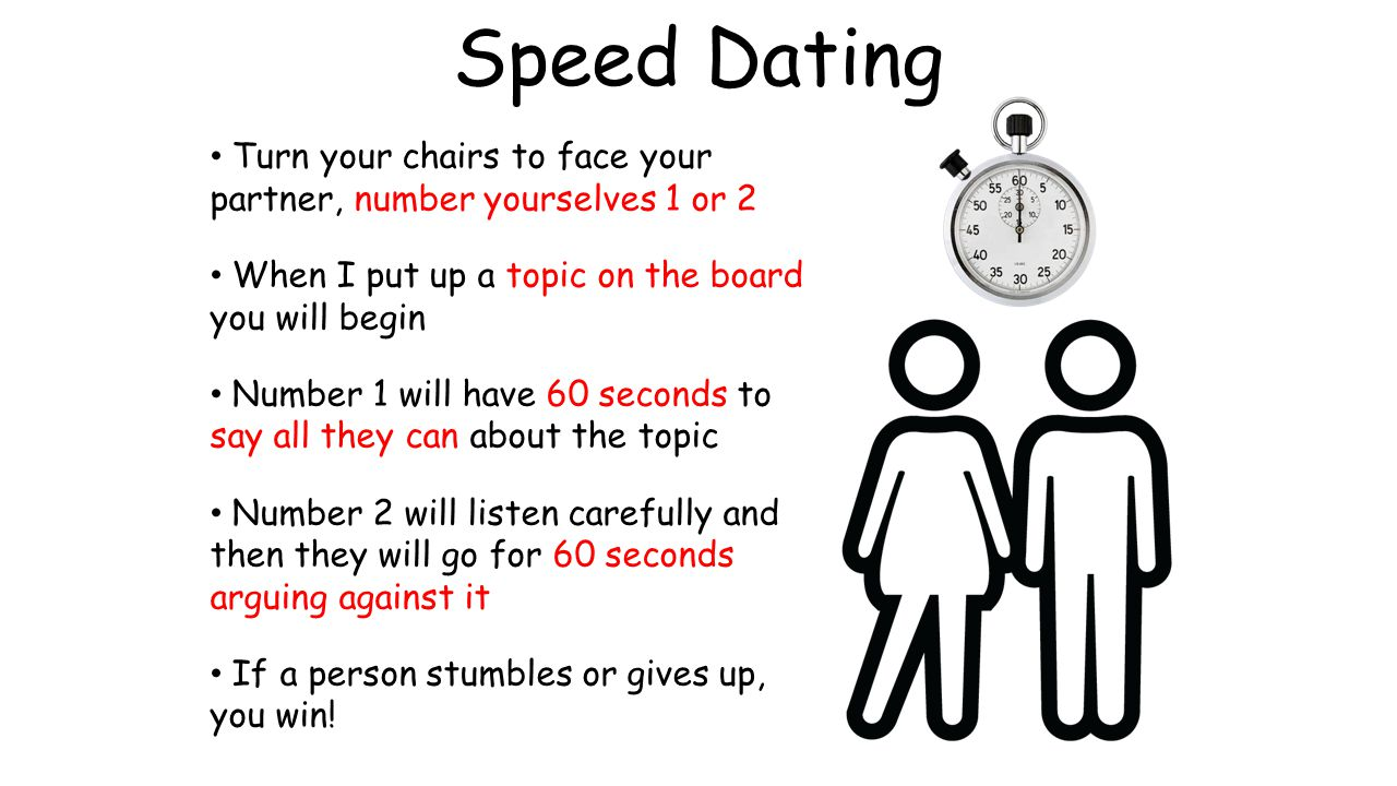Speed Dating Turn your chairs to face your partner, number yourselves 1 or 2 When I put up a topic on the board you will begin Number 1 will have 60 s