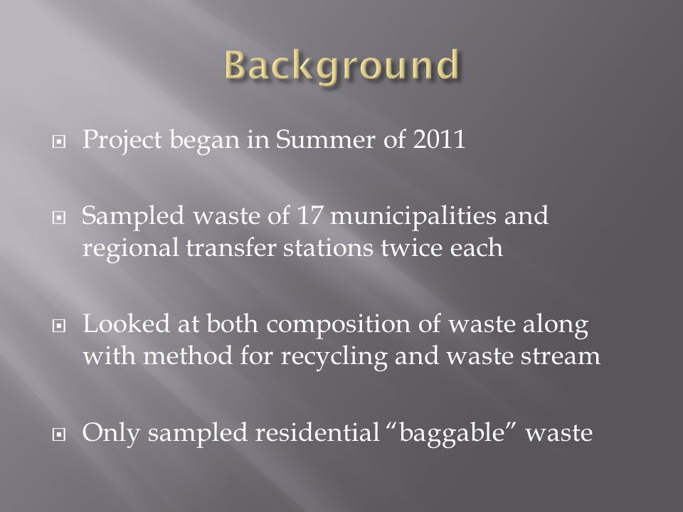  How can we better utilize compositing to decrease the waste stream  Regional composting.