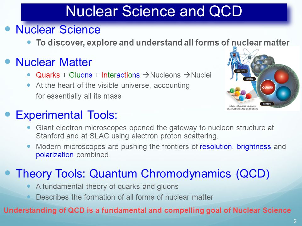 Nuclear Science and QCD Nuclear Science To discover, explore and understand all forms of nuclear matter Nuclear Matter Quarks + Gluons + Interactions  Nucleons  Nuclei At the heart of the visible universe, accounting for essentially all its mass Experimental Tools: Giant electron microscopes opened the gateway to nucleon structure at Stanford and at SLAC using electron proton scattering.