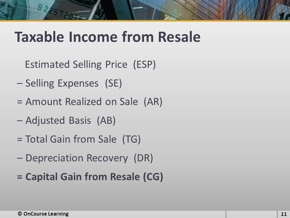 Taxable Income from Resale Estimated Selling Price (ESP) – Selling Expenses (SE) = Amount Realized on Sale (AR) – Adjusted Basis (AB) = Total Gain fro