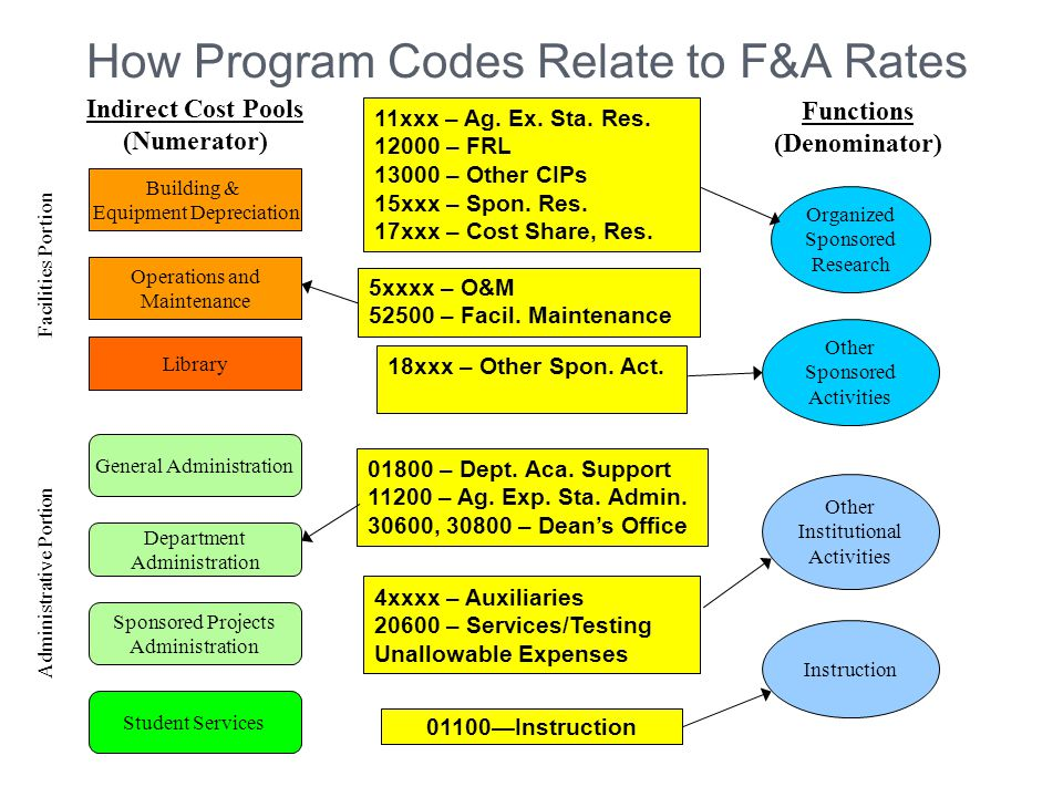 How Program Codes Relate to F&A Rates Building & Equipment Depreciation Operations and Maintenance General Administration Department Administration Sponsored Projects Administration Library Student Services Indirect Cost Pools (Numerator) Facilities Portion Administrative Portion Organized Sponsored Research Other Sponsored Activities Other Institutional Activities Instruction Functions (Denominator) 4xxxx – Auxiliaries 20600 – Services/Testing Unallowable Expenses 01100—Instruction 11xxx – Ag.