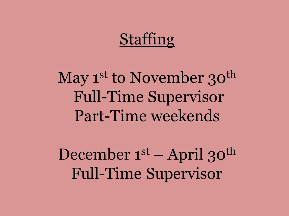 Staffing May 1 st to November 30 th Full-Time Supervisor Part-Time weekends December 1 st – April 30 th Full-Time Supervisor