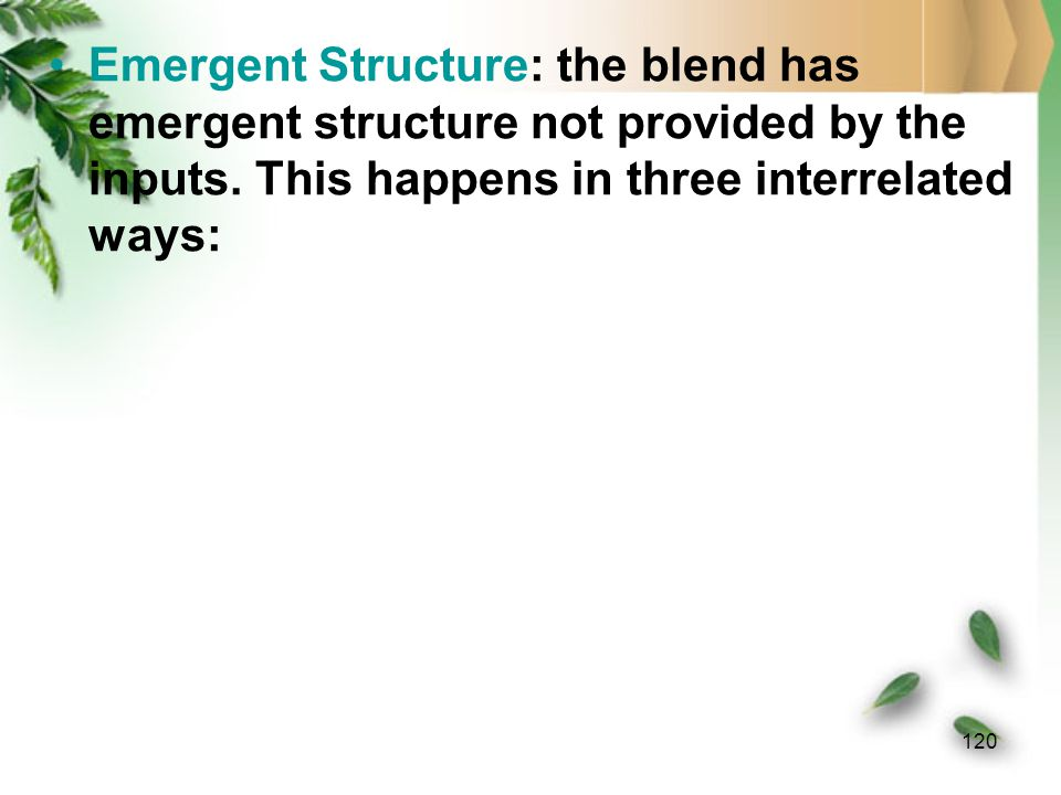 119 Blend: the inputs I1 and I2 are partially projected onto a fourth space, the blend.