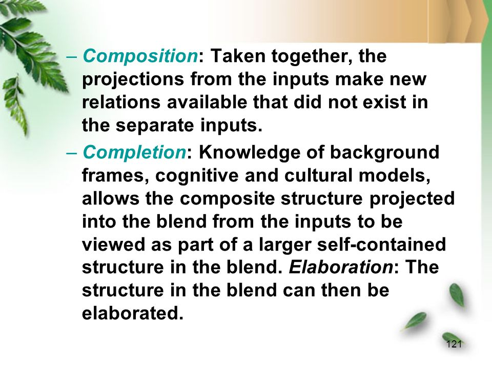 120 Emergent Structure: the blend has emergent structure not provided by the inputs.