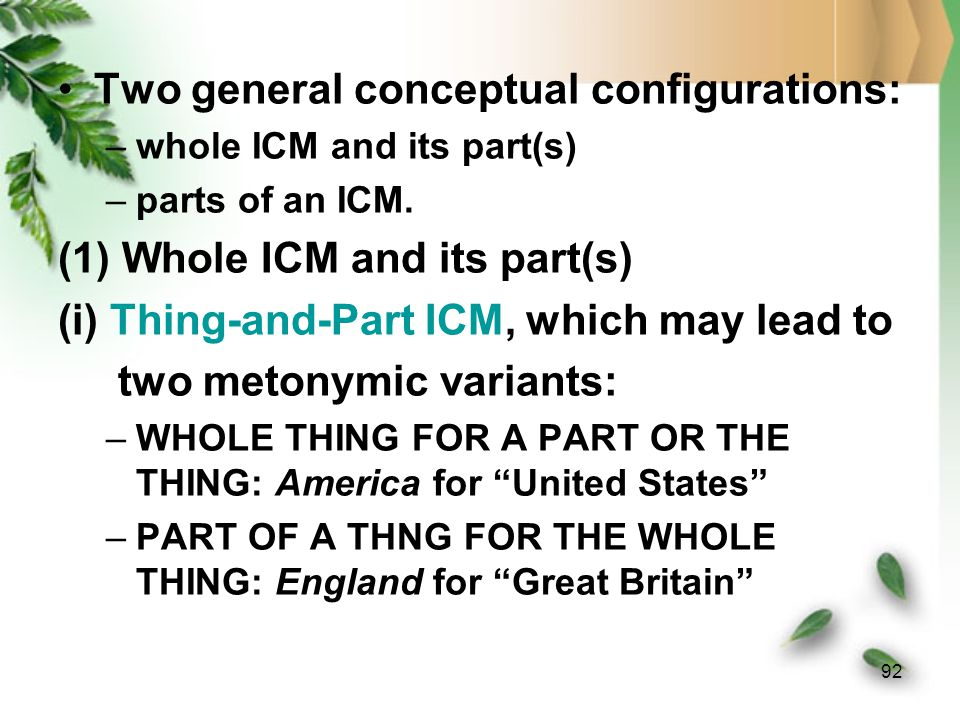 91 –Thus, we have three ICMs in ontological realms: Sign ICMs, Reference ICMs and Concept ICMs.