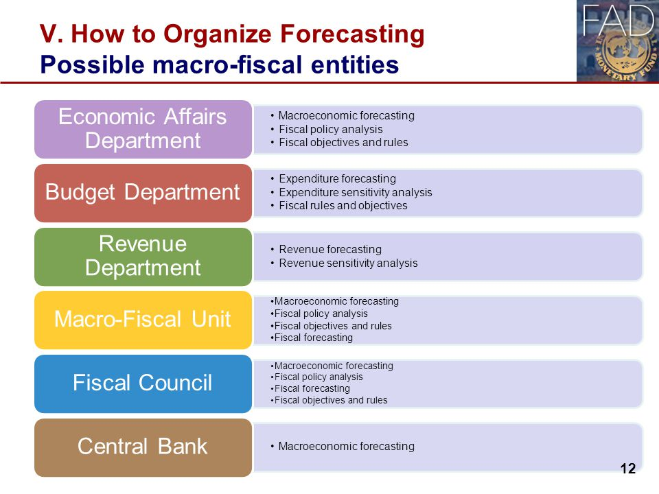 V. How to Organize Forecasting Possible macro-fiscal entities Macroeconomic forecasting Fiscal policy analysis Fiscal objectives and rules Economic Af
