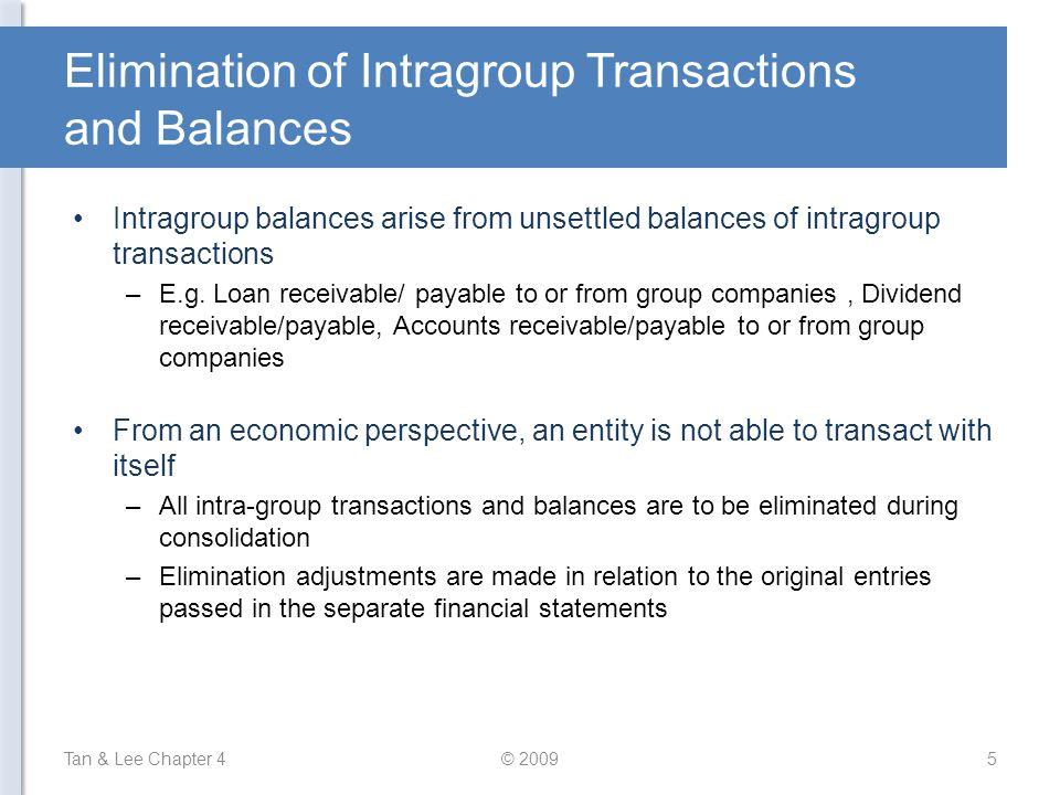 Elimination of Intragroup Transactions and Balances Intragroup balances arise from unsettled balances of intragroup transactions –E.g. Loan receivable