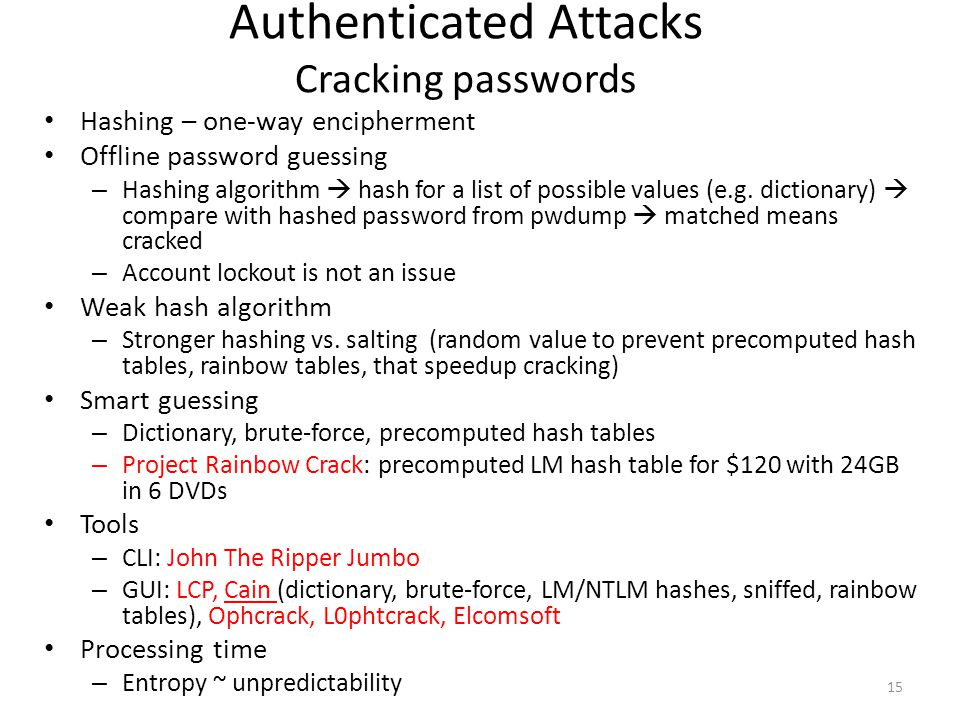 Authenticated Attacks Cracking passwords Hashing – one-way encipherment Offline password guessing – Hashing algorithm  hash for a list of possible va