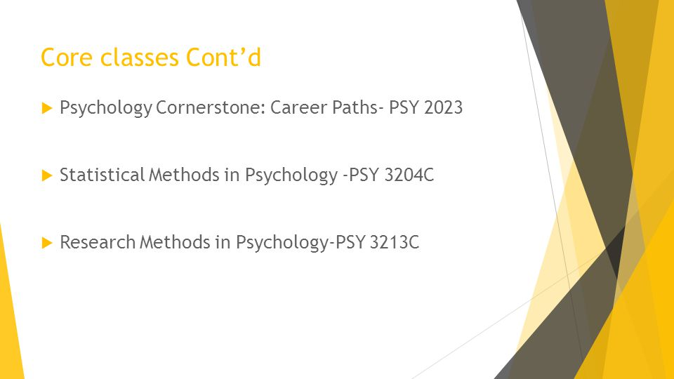 Core classes Cont'd  Psychology Cornerstone: Career Paths- PSY 2023  Statistical Methods in Psychology -PSY 3204C  Research Methods in Psychology-PSY 3213C