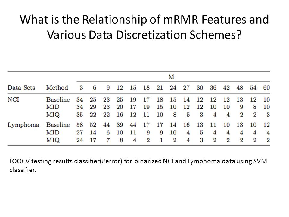 What is the Relationship of mRMR Features and Various Data Discretization Schemes.