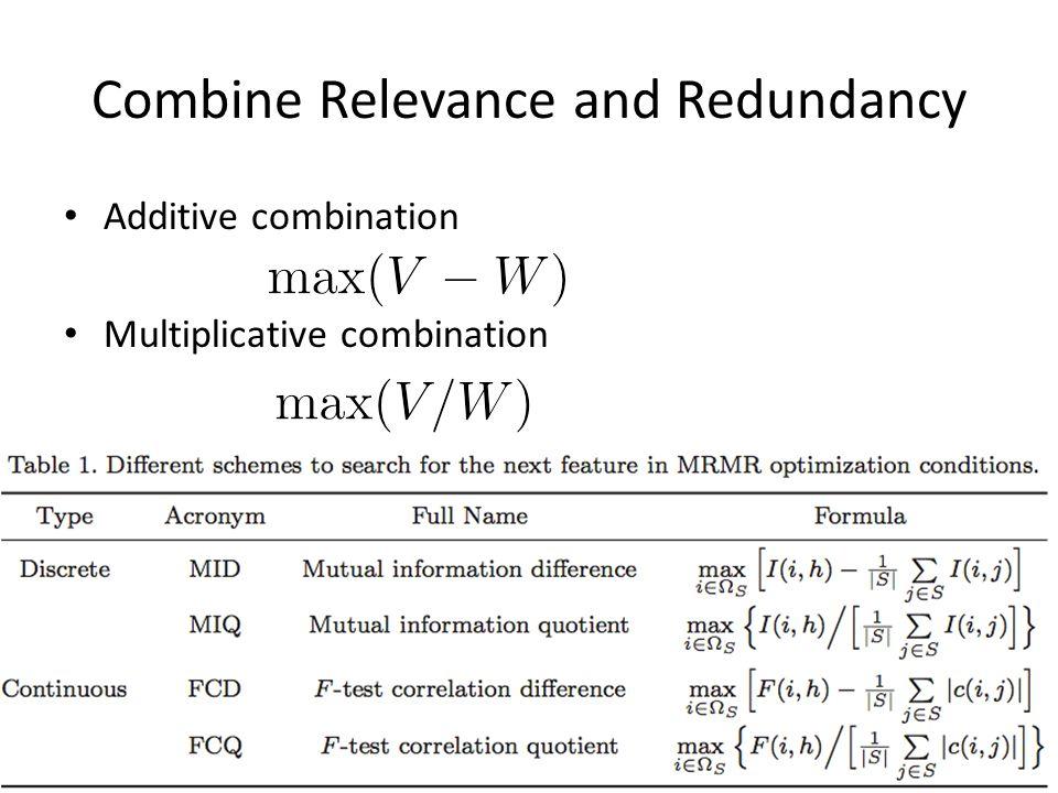 Combine Relevance and Redundancy Additive combination Multiplicative combination