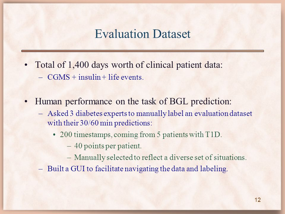 Evaluation Dataset Total of 1,400 days worth of clinical patient data: –CGMS + insulin + life events. Human performance on the task of BGL prediction:
