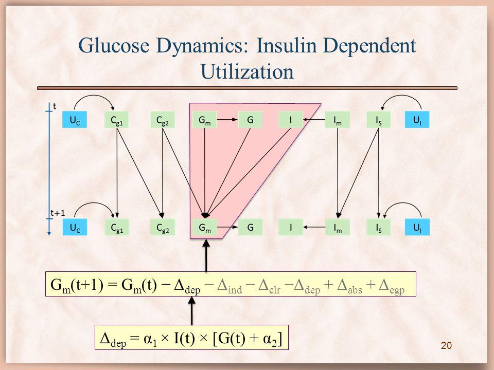 G m (t+1) = G m (t) − Δ dep − Δ ind − Δ clr −Δ dep + Δ abs + Δ egp Δ dep = α 1 × I(t) × [G(t) + α 2 ] Glucose Dynamics: Insulin Dependent Utilization 20