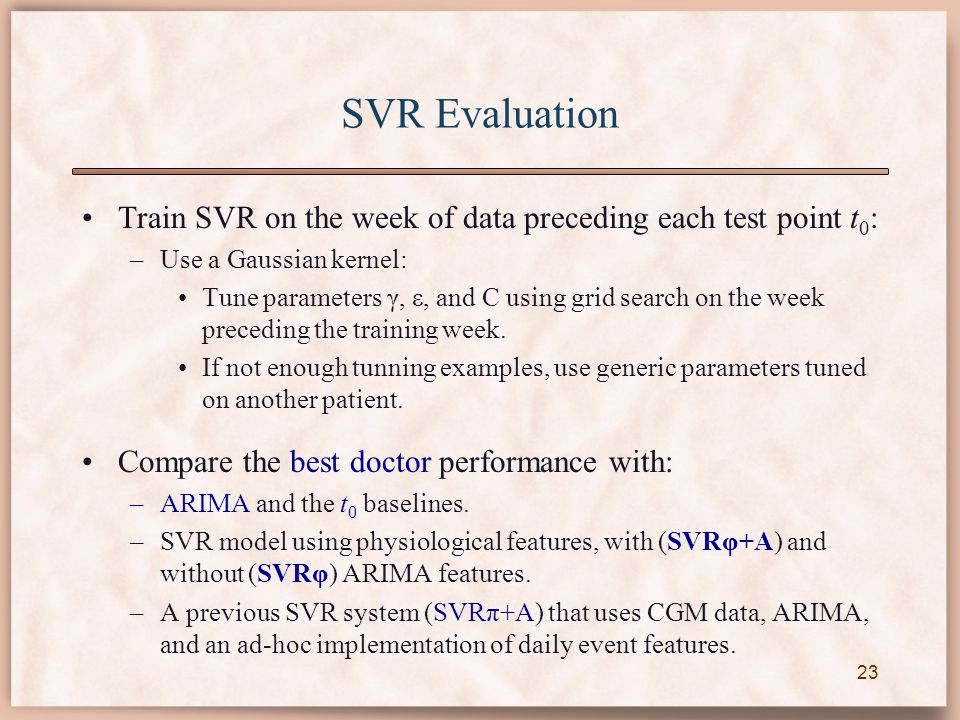 SVR Evaluation Train SVR on the week of data preceding each test point t 0 : –Use a Gaussian kernel: Tune parameters γ, ε, and C using grid search on