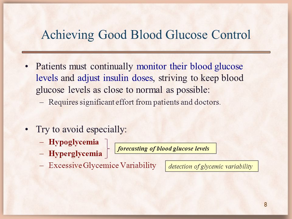 Achieving Good Blood Glucose Control Patients must continually monitor their blood glucose levels and adjust insulin doses, striving to keep blood glu